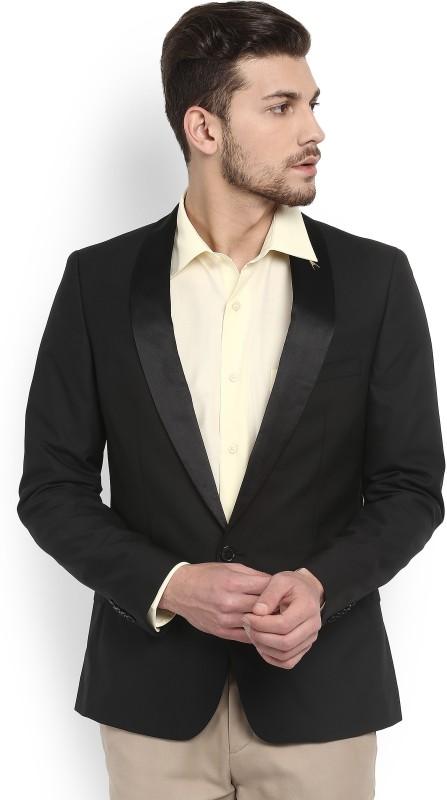 Arrow Solid Single Breasted Formal Men Blazer(Black)