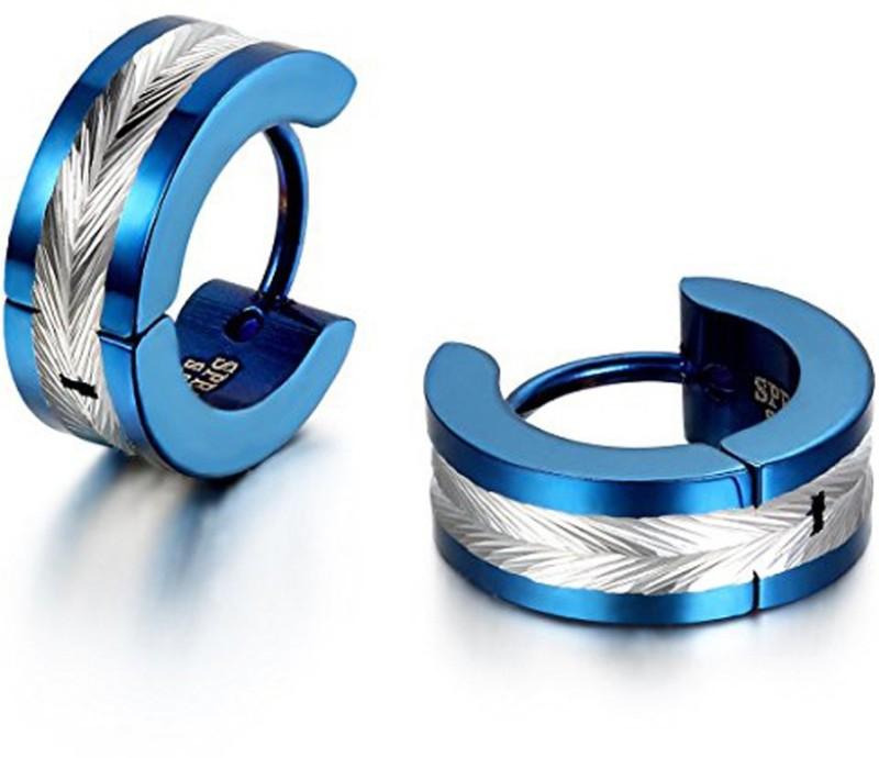 Yellow Chimes Metallic Blue Western Style 316L Stainless Steel Stainless Steel Hoop Earring