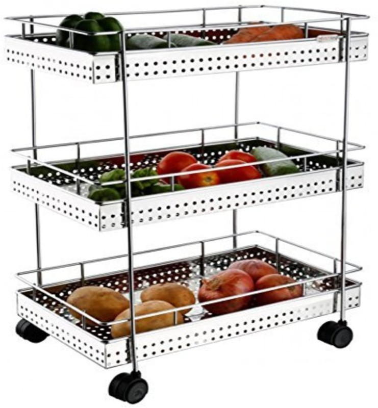 MDS fruit and vegetable Trolly Stainless Steel With 3-Tier Stainless Steel Kitchen Trolley