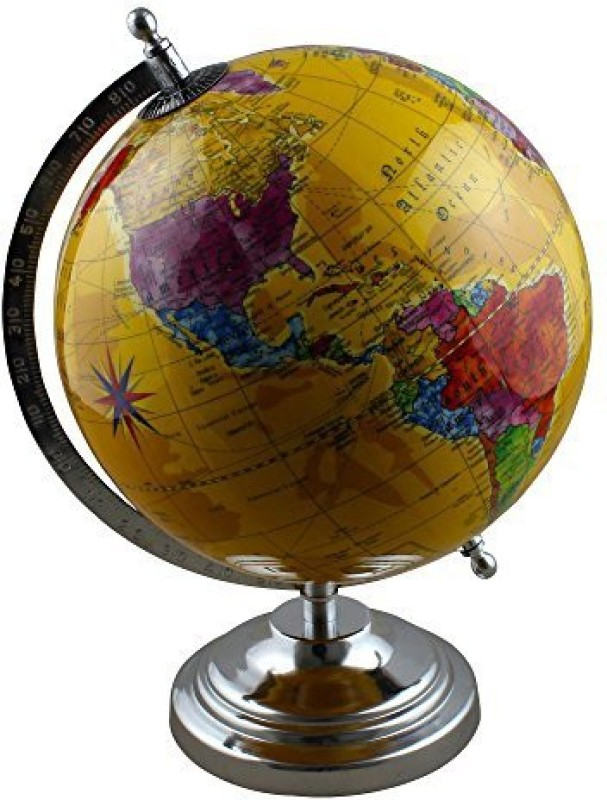 RoyaltyRoute Desktop Political Globe World Map With Stand Learning Resources For Teachers, Table D�Cor, Office & School, 12 Inches(Multicolor)