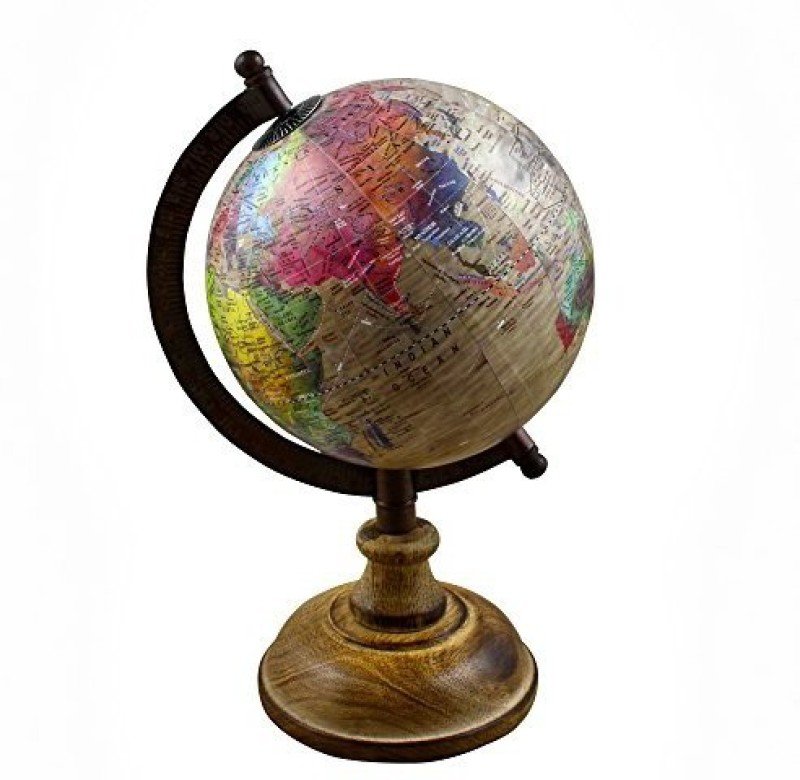 RoyaltyRoute Desktop Political Globe World Map With Stand Learning Resources For Teachers, Table D�Cor, Office & School, 9.5 Inches(Multicolor)