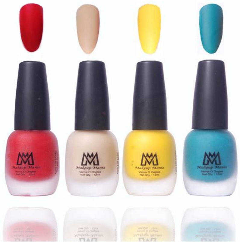 Makeup Mania Premium Collection Nail Polish, Combo of 4 Velvet Matte Nail Enamels - MM19 Multicolor(48 ml, Pack of 4)