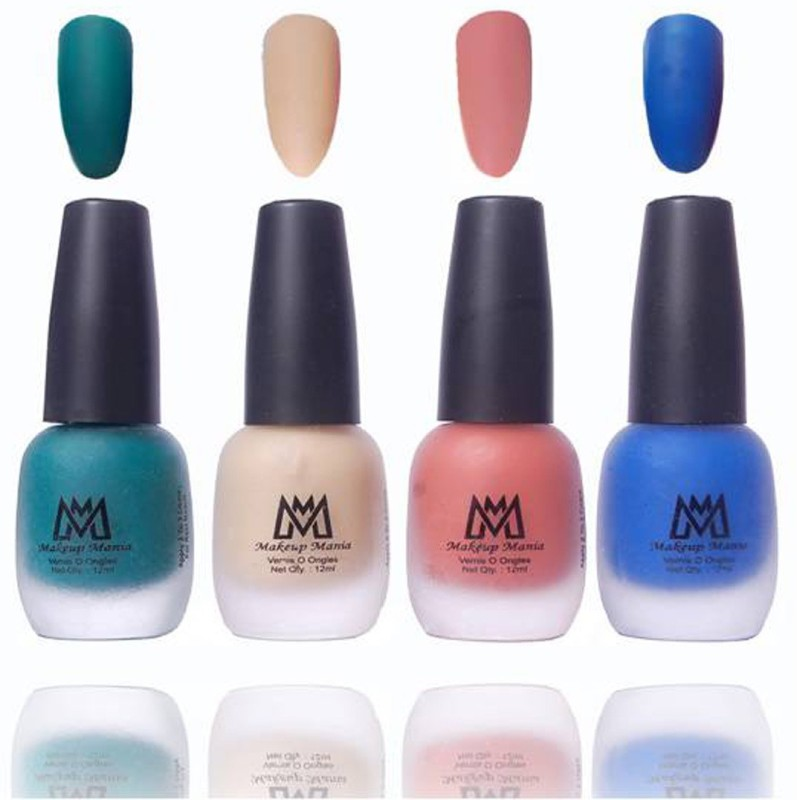 Makeup Mania Premium Collection Nail Polish, Combo of 4 Velvet Matte Nail Enamels - MM21 Multicolor(48 ml, Pack of 4)