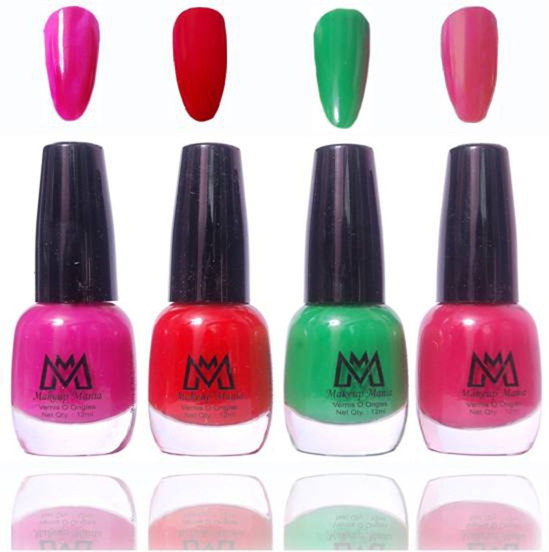 Makeup Mania Premium Collection Nail Polish - Combo of 4 Exclusive Nail Enamels - MM27 Multicolor(48 ml, Pack of 4)