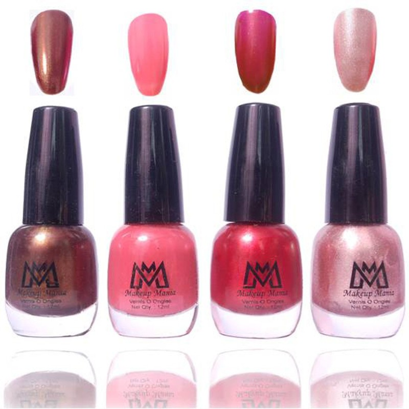 Makeup Mania Premium Collection Nail Polish - Combo of 4 Exclusive Nail Enamels - MM58 Multicolor(48 ml, Pack of 4)
