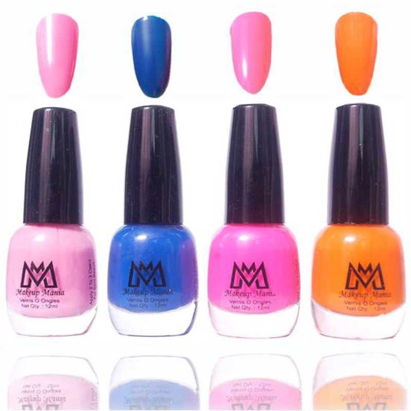 Makeup Mania Premium Collection Nail Polish - Combo of 4 Exclusive Nail Enamels - MM45 Multicolor(48 ml, Pack of 4)
