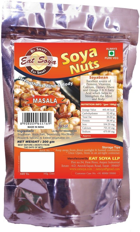 Eat Soya Soya Nuts Masala 200gm (Pack of 2) Veg Nuggets(400 g)