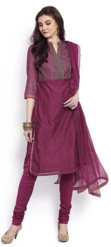 Biba Self Design Kurta & Churidar(Stitched)
