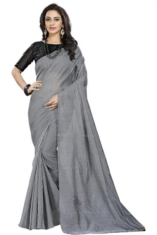 BAPS Printed Daily Wear Cotton, Silk, Cotton Linen Blend Saree(Black, White)
