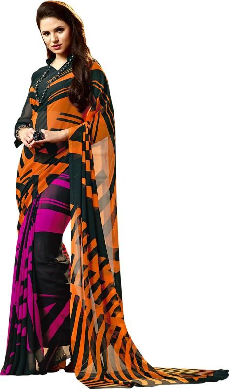 Aruna Sarees Geometric Print Fashion Faux Georgette Saree(Multicolor)