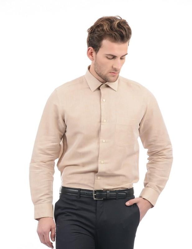 Arrow Men Solid Formal Beige Shirt