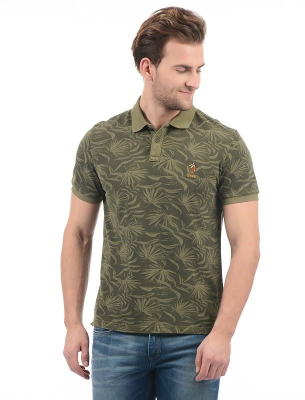U.S. Polo Assn Printed Men Polo Neck Green T-Shirt