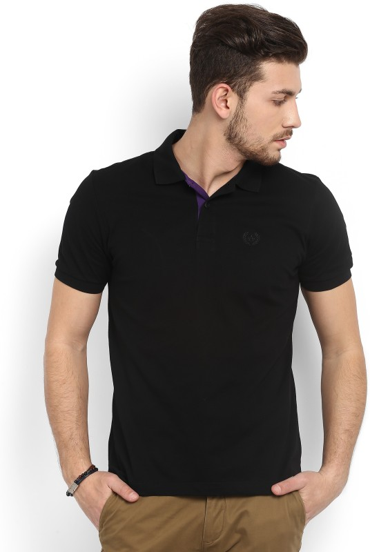 Arrow Sport Solid Mens Polo Neck Black T-Shirt