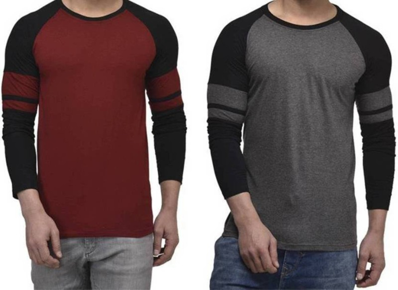 wrodss Solid Men & Women Round Neck Black, Maroon T-Shirt(Pack of 2)