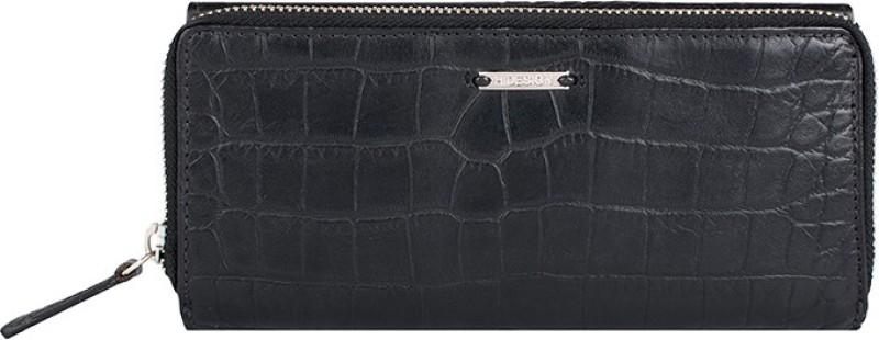 Hidesign Women Black Genuine Leather Wallet(6 Card Slots)