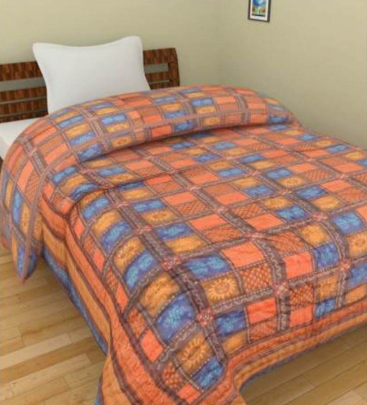 Kanthaexports Printed Single Quilt(Cotton, Red, Orange, Blue)
