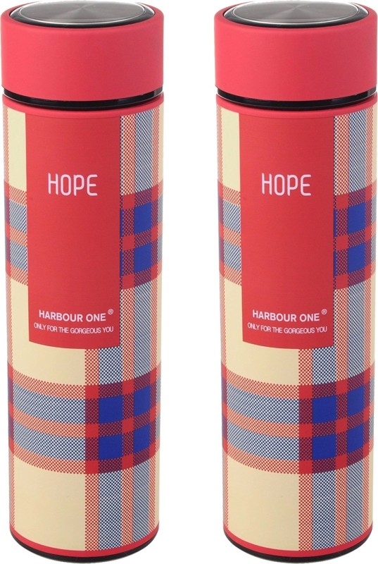 Style Homez Double Wall Vacuum Flask Insulated Thermos BPA Free Stainless Steel Travel Water Bottle Sipper 480 ml - Keep Drinks Hot and Cold for 12 Hours (HOPE) - Set of 2 960 ml Flask(Pack of 2, Multicolor)