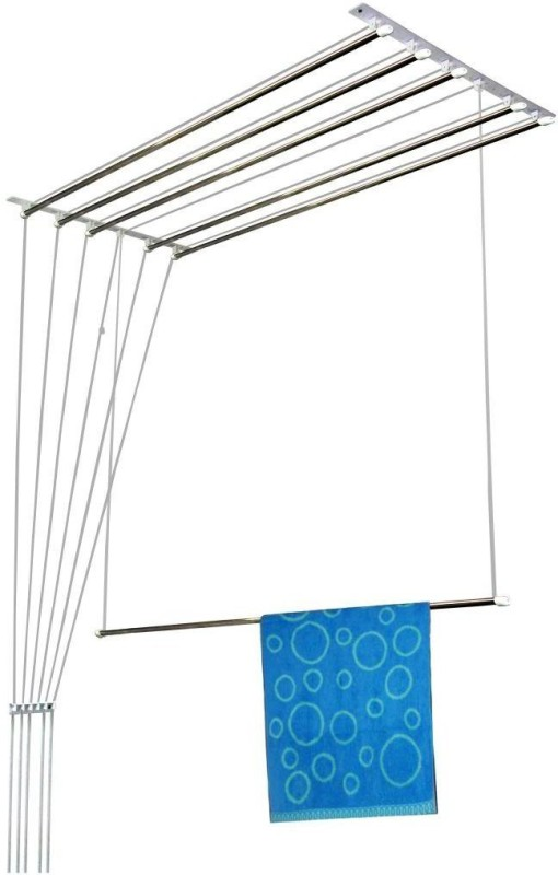 Wel-Tech Wel-Tech Stainless Steel Premium Ceiling Cloth Hanger/Rack Roof Mount Cloth Dryer with Individual Drop down Railers (6 Feet x 6 Pipes= 36 Ft Total Drying Length) Stainless Steel, Plastic Ceiling Cloth Dryer Stand(Silver, Grey)