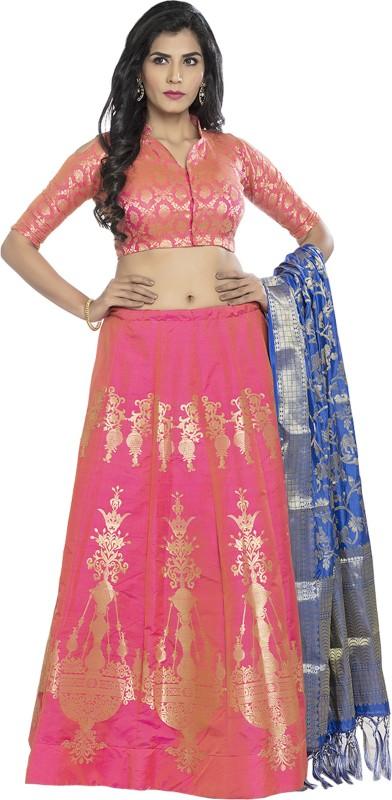 fabkaz Embroidered Semi Stitched Lehenga, Choli and Dupatta Set(Pink)