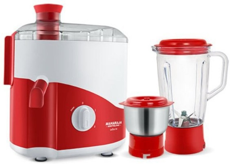Maharaja Whiteline ODACIO 450 Juicer Mixer Grinder(RED & WHITE, 2 Jars)
