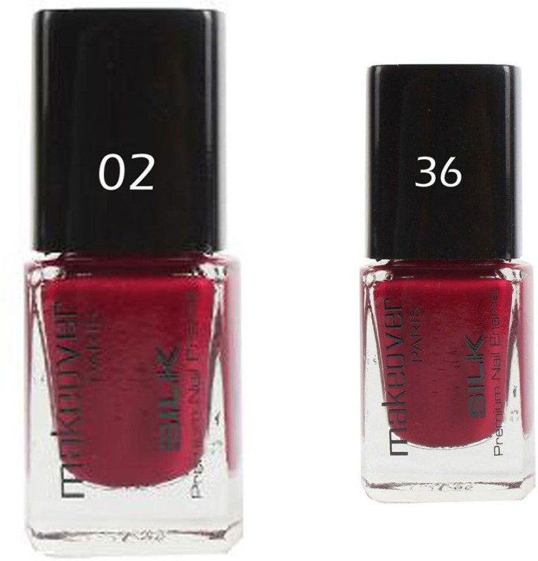 Makeover Professional Nail Paint Combo Hot Red-02 , Dark-Magneta-36 (9 ml, Pack of 2) Multi(9 ml, Pack of 2)