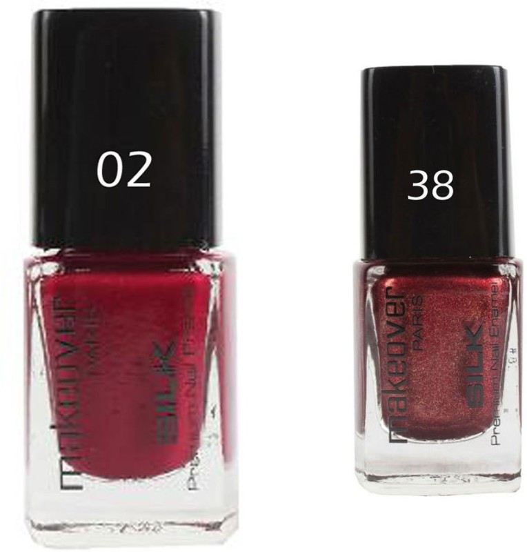 Makeover Professional Nail Paint Combo Hot Red-02 , Sparking-Wine-Red-38 (9 ml, Pack of 2) Multi(9 ml, Pack of 2)