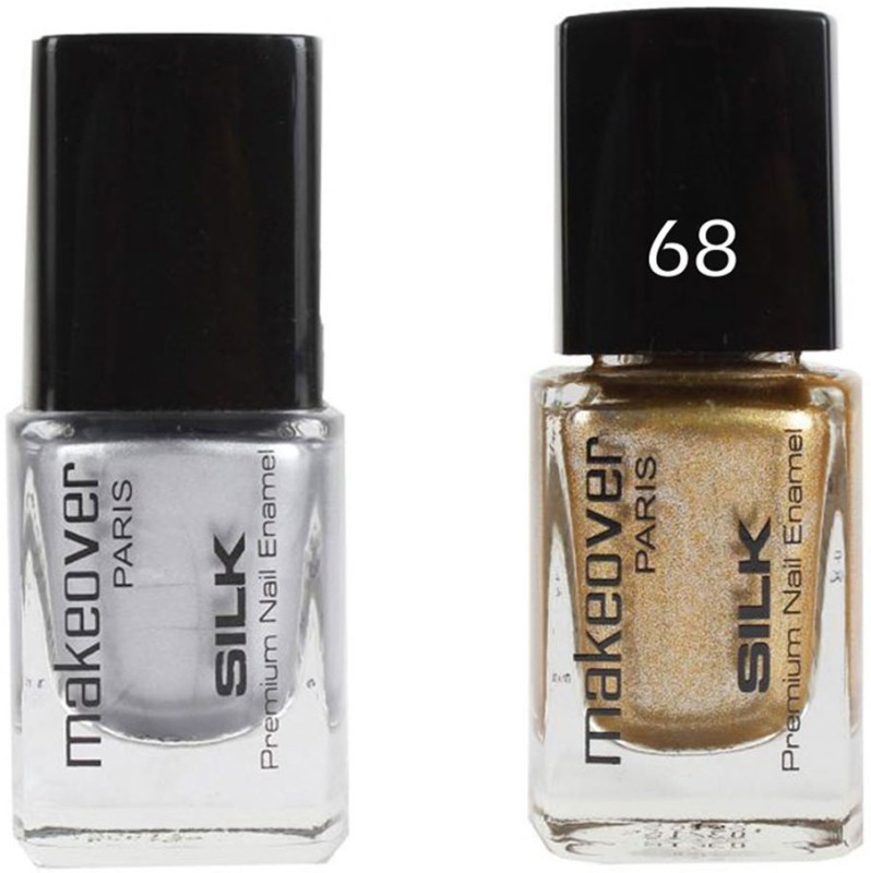 Makeover Professional Nail Paint Hot Silk Silver-14 , Nail Paint Sparking Golden-68 Multi(9 ml, Pack of 2)