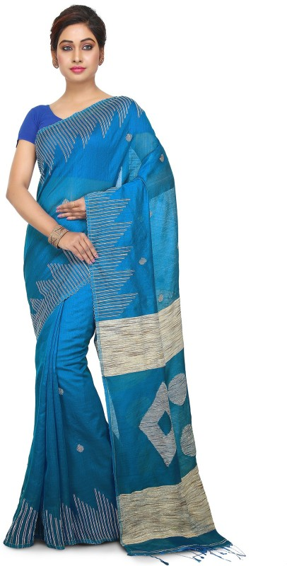 Crochetin Self Design Bollywood Art Silk Saree(Blue)