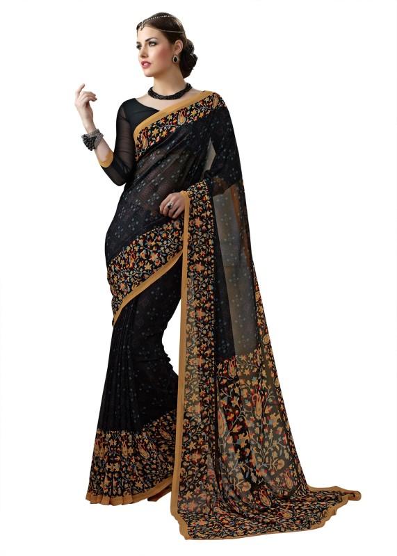 Aruna Sarees Solid, Plain, Floral Print Bollywood Georgette Saree(Multicolor)