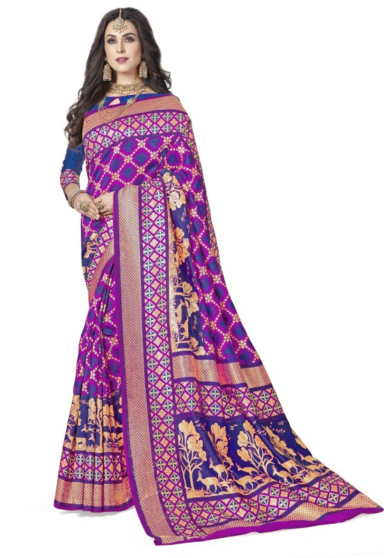 Rola Trendz Animal Print, Striped Kanjivaram Art Silk, Banarasi Silk, Jacquard Saree(Pink, Blue)