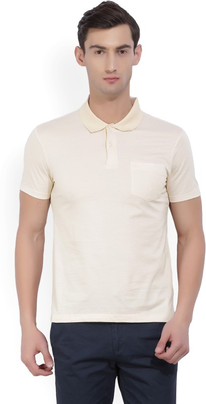 Arrow Solid Mens Polo Neck Beige T-Shirt