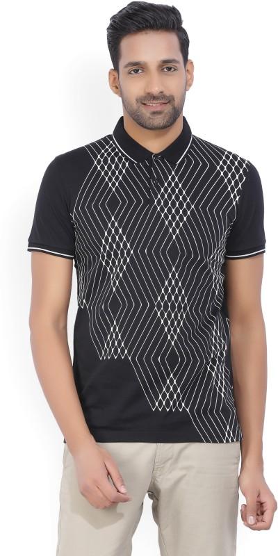 Arrow New York Printed Mens Polo Neck Black, White T-Shirt