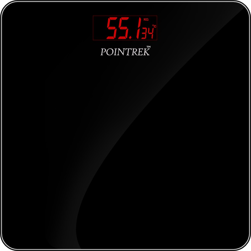 POINTREK Electronic Digital LCD Personal Health Body Fitness (Black with Red-Light Display) Weighing Scale(Black)