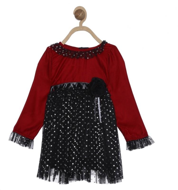612 League Girls Midi/Knee Length Casual Dress(Black, Full Sleeve)