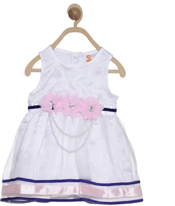 612 League Girls Midi/Knee Length Casual Dress(White, Full Sleeve)