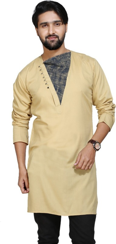 kiez fashion Men Self Design A-line Kurta(Beige)