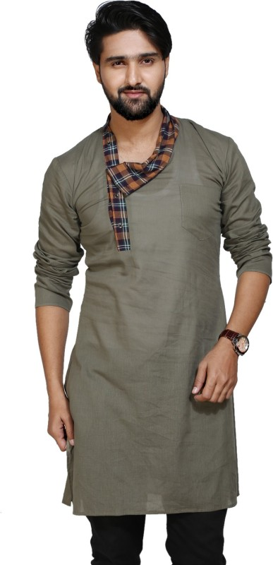 kiez fashion Men's Self Design A-line Kurta(Grey)