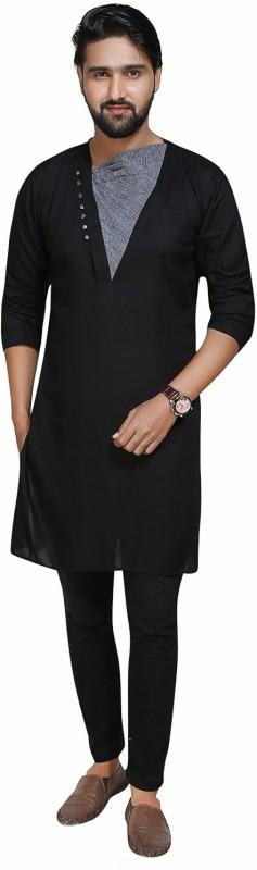 kiez fashion Men's Self Design A-line Kurta(Black)