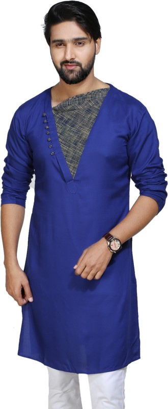 kiez fashion Men's Self Design A-line Kurta(Blue)