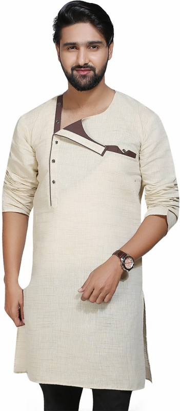 kiez fashion Men's Self Design A-line Kurta(White)