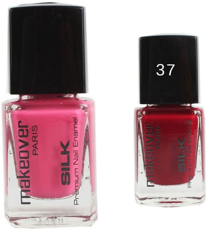 Makeover Professional Nail Paint Combo Natural-Pink-24 , Magneta-Marvel-37 (9 ml, Pack of 2) Multi(9 ml, Pack of 2)