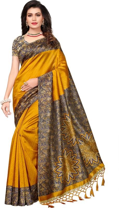 Ratnavati Printed, Self Design, Striped Daily Wear Art Silk Saree(Mustard)