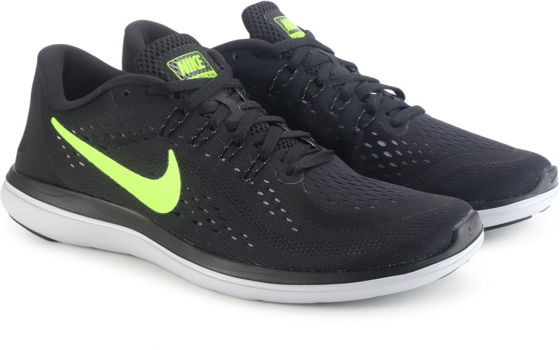 Nike FLEX 2017 RN Running Shoes For Men(Black, Green)