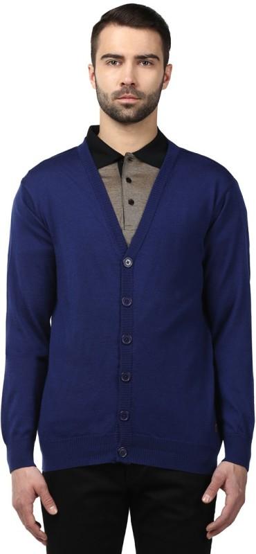 Raymond Solid V-neck Casual Mens Dark Blue Sweater