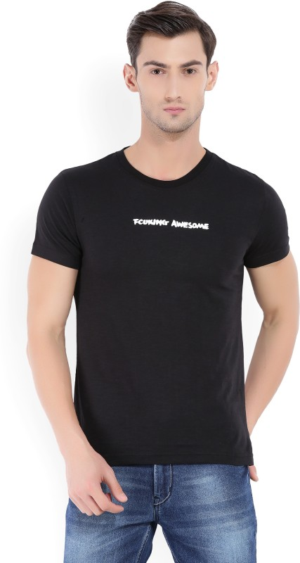 French Connection Printed Mens Round Neck Black T-Shirt
