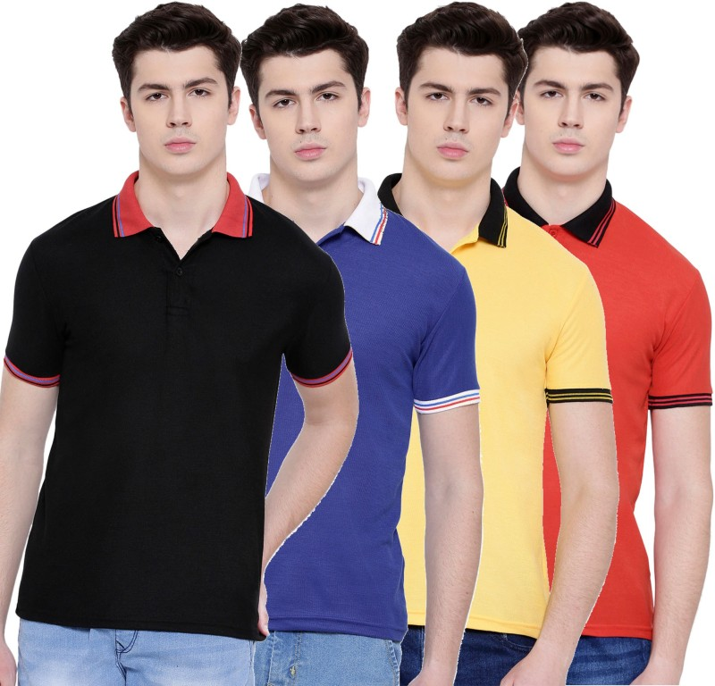 TSX Solid Men Polo Neck Multicolor T-Shirt(Pack of 4)