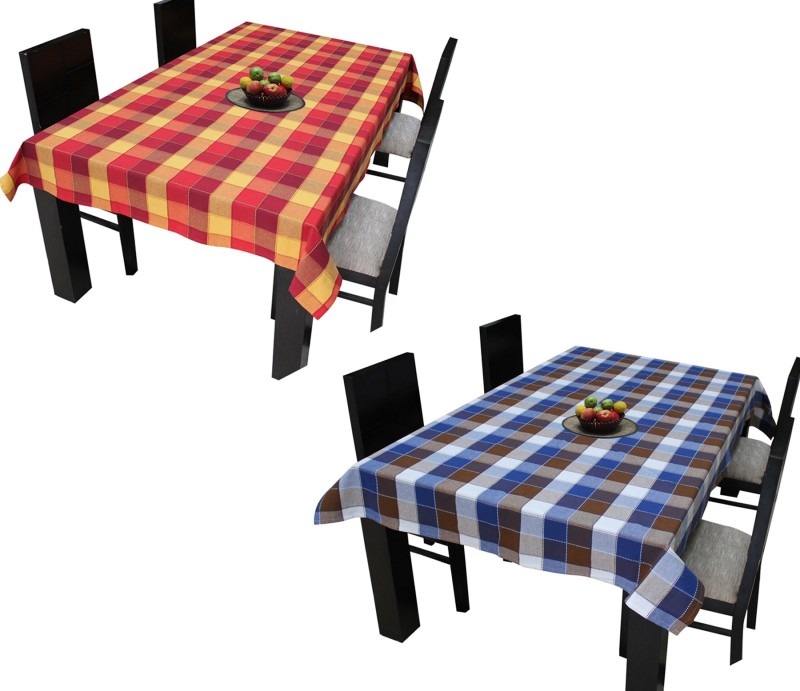 Airwill Checkered 4 Seater Table Cover(Mlticolor, Cotton)