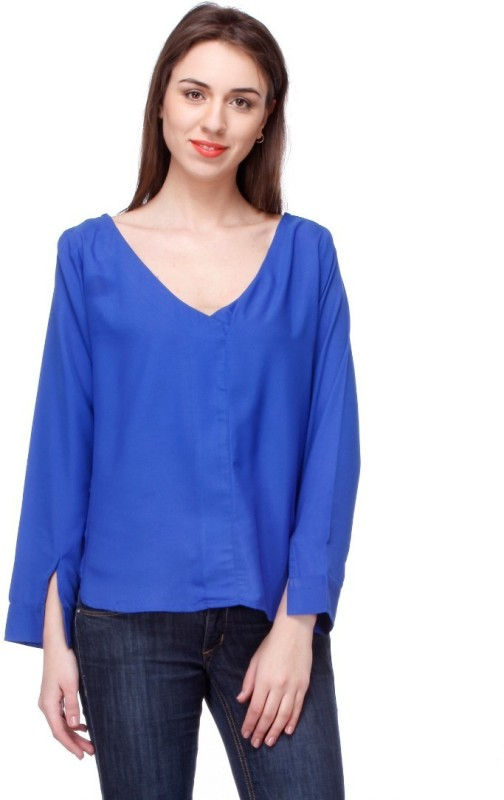 Lavennder Casual Full Sleeve Solid Women's Blue Top
