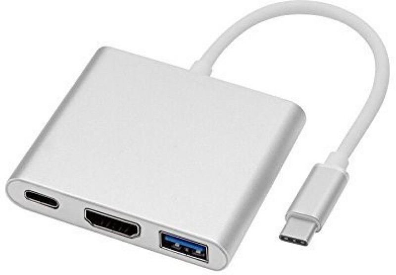 Microware USB 3.1 Type-C Multiport Male to HDMI USB 3.0 USB-C Hub Adapter MMPL TYPE C USB Hub(Silver)