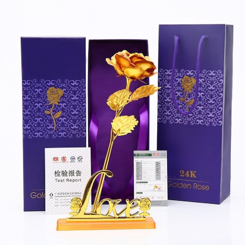 Homesogood 24K Golden Rose 10 Inches With Gift With Stand Birthday Gifts Valentines Gift love Artificial Flower Gift Set